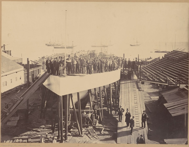 1 CEW, Launching the Monitor Camanche [or Comanche], SF, 1863-64, BANC