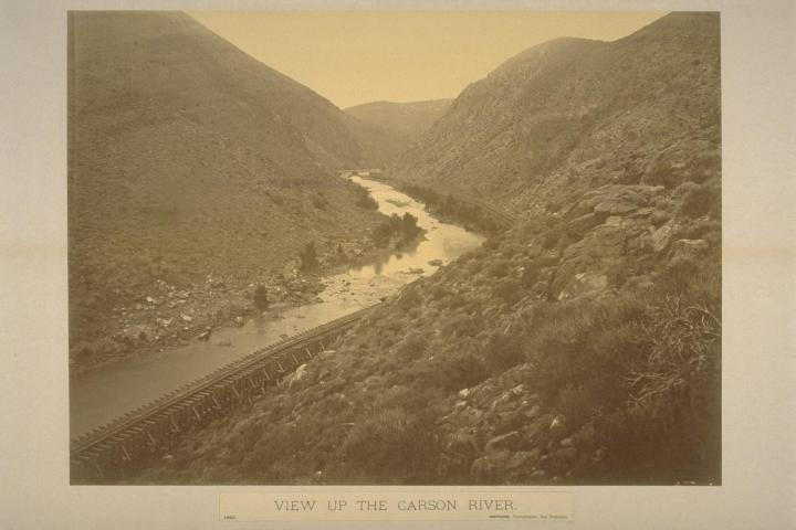 10 CEW, View up the Carson River, Lyon County, Nev., 1876, BANC