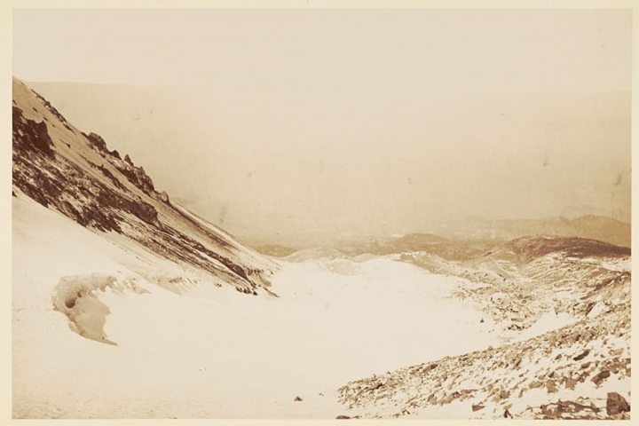 12 CEW, Mount Shasta, Whitney Glacier, looking down, 1870, BANC