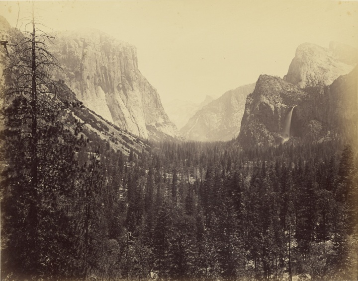 16 CEW, Up Yosemite Valley from Mariposa Trail, 1865-66, JPGM 1500