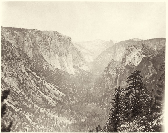 17 CEW, Yosemite Valley from Mariposa Trail, 1865-66, Crocker