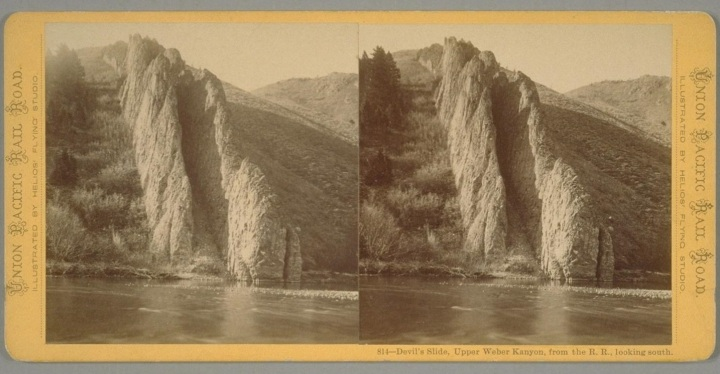 18 Eadweard Muybridge, Devil's Slide, Upper Weber Kanyon, from the railroad, looking south, nd, BANC