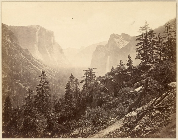 18 EJM, Yosemite Valley from Mariposa Trail, 1872, CHS