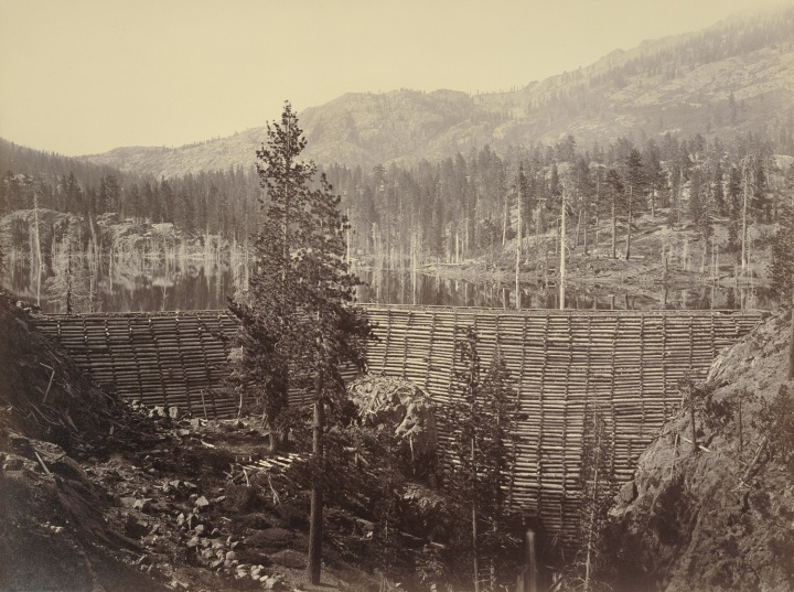2 CEW, Rudyard (English) Reservoir, Central Dam, Nevada County, ca. 1871, JPGM 1500