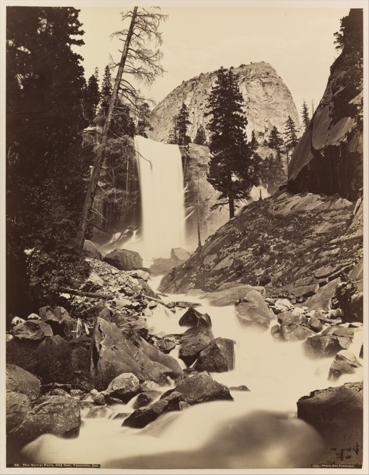 21 CEW printed by IW Taber, Vernal Fall, Yosemite, 1865-66 and ca. after 1876, Met 1100