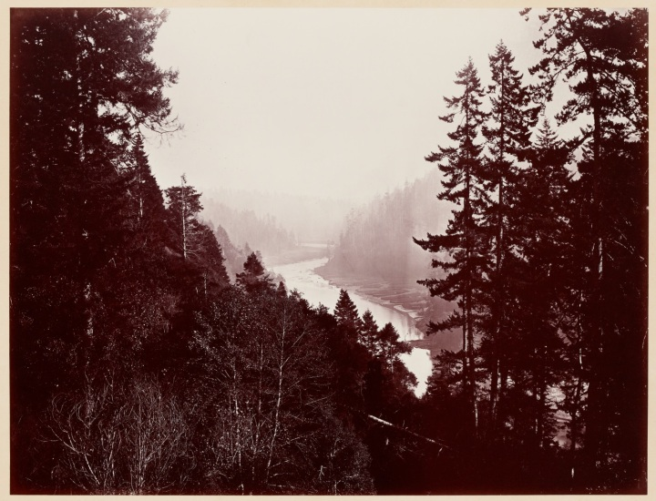 23 CEW, Mendocino River [Big River], from the Rancherie, Mendocino, 1863, SUL 1500