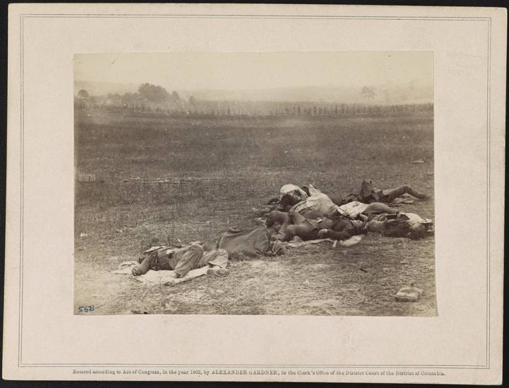 3 Alexander Gardner, Group of Irish brigade as they lay on the battlefield of Antietam, 19th Sept., 1862, 1862, LOC