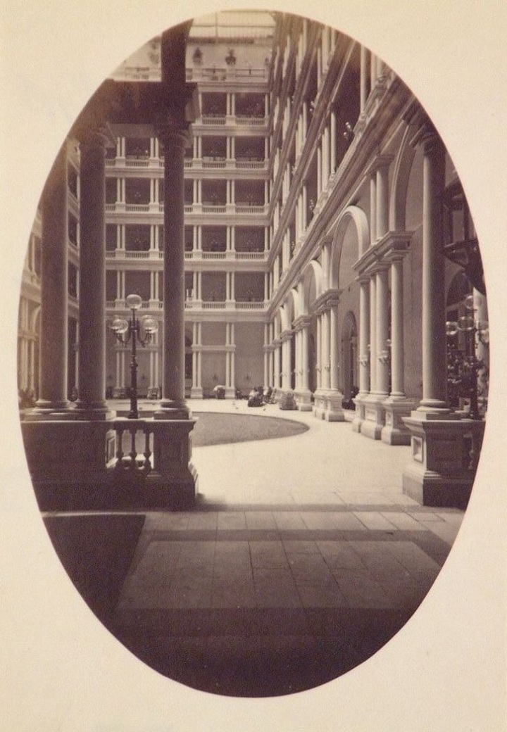 3 CEW, Interior View, Grand Court, Palace Hotel, SF, ca 1876, CCA, Montreal