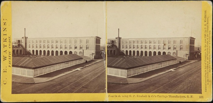 4 CEW, Fourth st. wing G. P. Kimball & Co's Carriage Manufactory, SF, ca 1860-75, BRBLYU