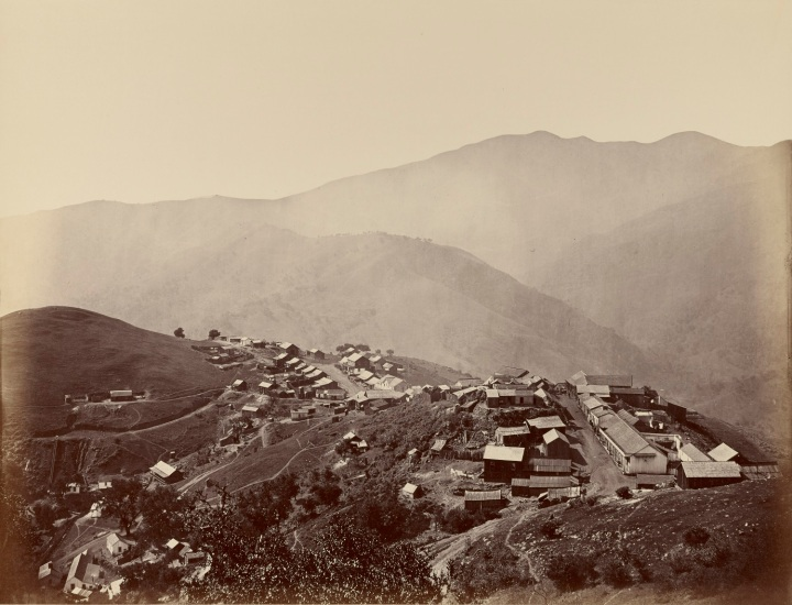 4, CEW, Town on the Hill from the Mine Peak, New Almaden, 1863, JPGM 1500