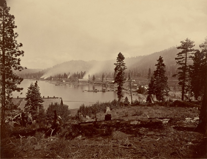 4 CEW, View of Gleenbrook [sic] Bay, Lake Tahoe, Showing Saw Mills, Breakwater and Steamers of Carson and Tahoe Lumber and Flume Co., 1876, JPGM 1500