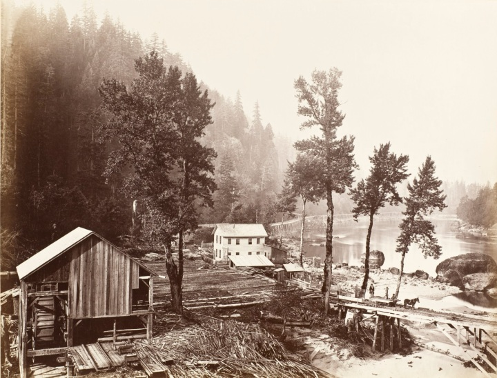 6 CEW, Eagle Creek Lumber Mill and Tooth Bridge, Columbia River, Ore, 1867, LACMA 1500