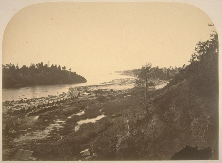 6 CEW, Entrance to the Big River Harbor from above the Mill, Mendocino, 1863, BANC
