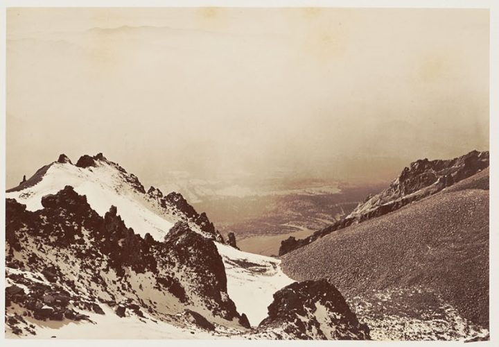 9 CEW, Looking out the left of the crater, Shasta, 1870, BANC